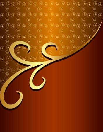 illustration background frame with gold(en) pattern with spiral