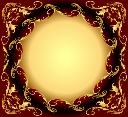 ornamentation:  illustration background frame with gold(en) east pattern Illustration