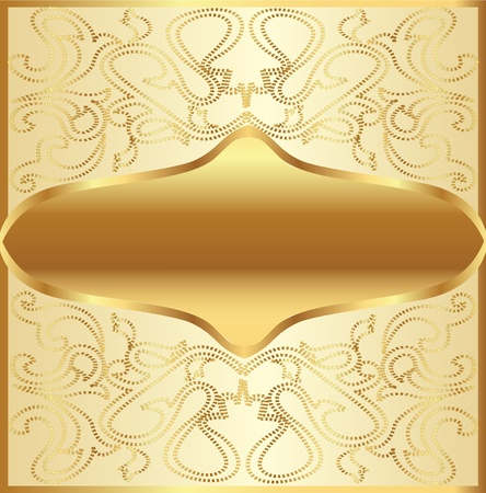 illustration gold(en) background frame with vegetable ornament Vector