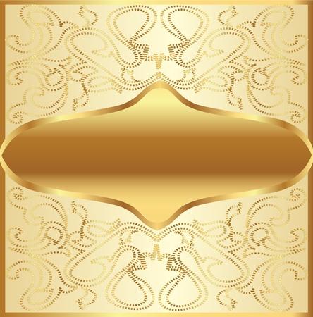 illustration gold(en) background frame with vegetable ornament Vector
