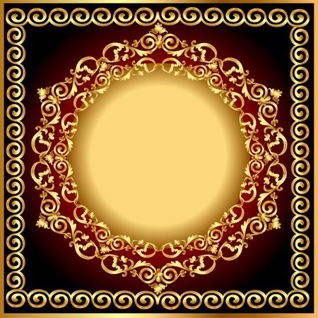 illustration background frame with circular gold(en) drawing Vector