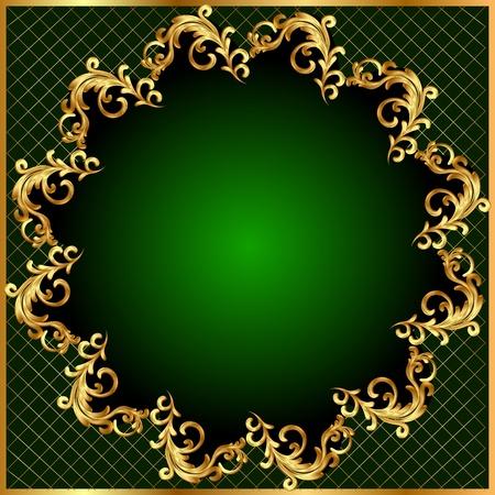 illustration background pattern gold on green background Vector
