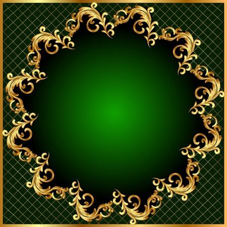 golden border: illustration background pattern gold on green background