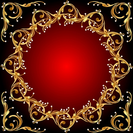 red swirl: illustration background pattern gold on red background Illustration