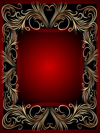 illustration frame background with gold(en) vegetable ornament