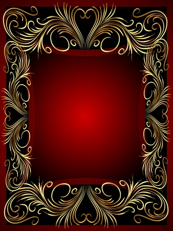 illustration frame background with gold(en) vegetable ornament  Vector