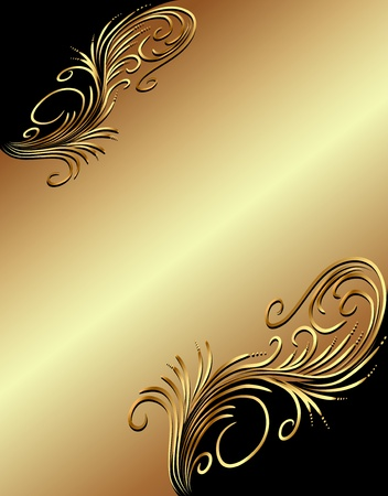 black textured background: illustration  background with gold(en) vegetable ornament
