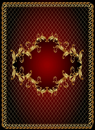 rococo: illustration frame background with gold(en) vegetable ornament and net Illustration