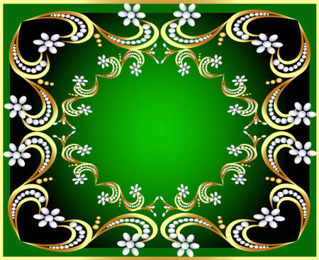 illustration green background with gold(en) pattern and pearl Stock Vector - 12488684