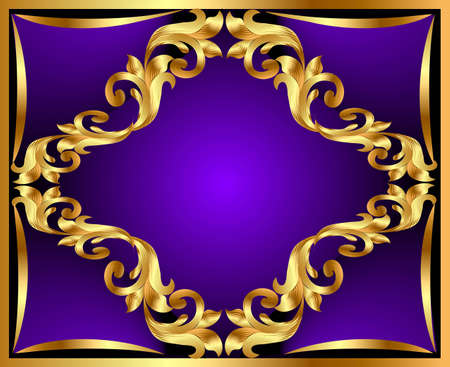 illustration violet background with gold(en) ornament Vector