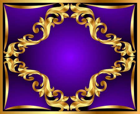 illustration violet background with gold(en) ornament Stock Vector - 12488665