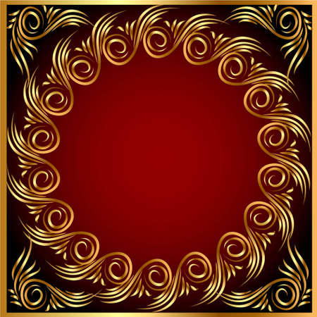 illustration background frame with gold(en) pattern Vector
