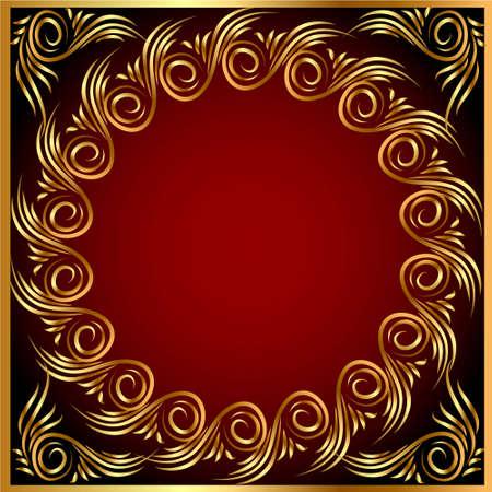 illustration background frame with gold(en) pattern Stock Vector - 12488664