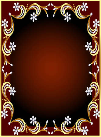 elegant backgrounds: illustration frame with gold(en) pattern and flower from pearl Illustration