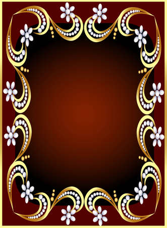 illustration background with gold(en) pattern and flower from pearl Vector
