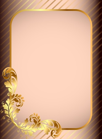 rococo: illustration frame background with gold(en) pattern and band
