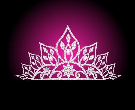 diadema: la ilustraci�n de la boda con perla diadema femenina en rosa