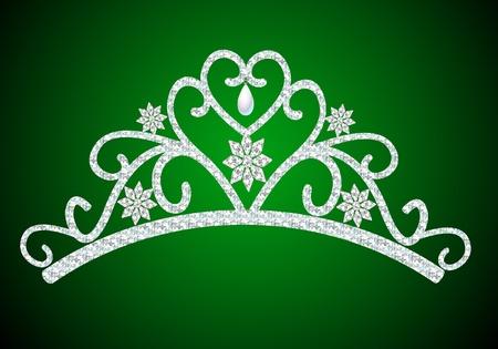 heart and crown: figura femminile con diadema wedding perla su verde Vettoriali
