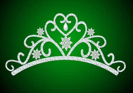 heart with crown: illustration diadem feminine wedding with pearl on green