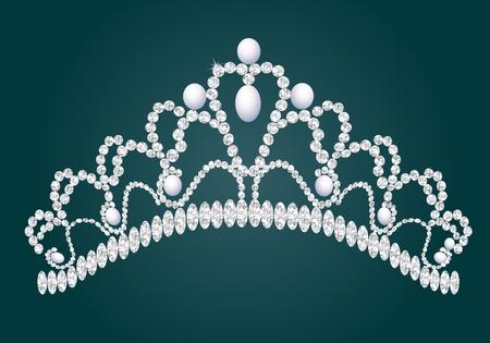 heart and crown: figura femminile con diadema wedding briliance Vettoriali