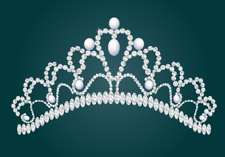 heart and crown: illustration diadem feminine wedding with briliance