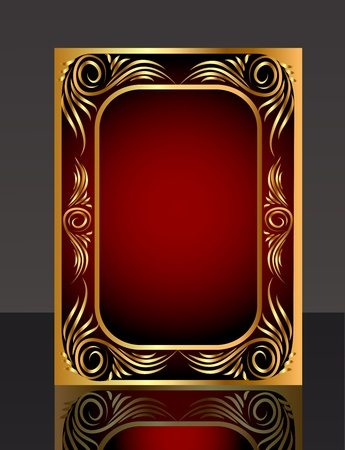 illustration frame with gold(en) pattern and reflection Vector