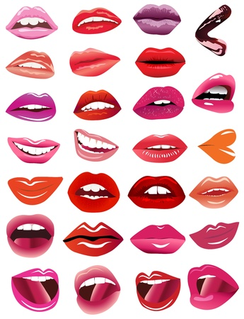 illustration set feminine lips on white background