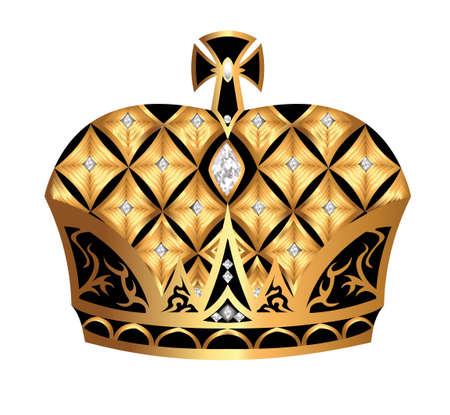 nobel: ilustraci�n de oro (en) la corona real aislados sobre fondo blanco Vectores