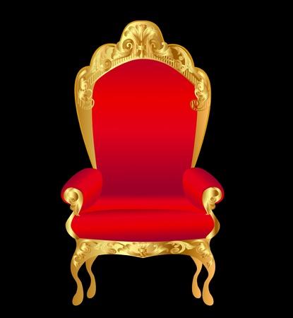 sedia vuota: illustrazione rosso vecchia sedia con ornamenti in oro su fondo nero Vettoriali