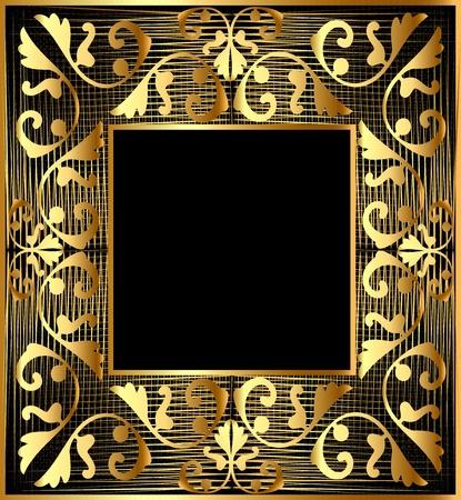 illustration background frame with gold(en) vegetable ornament and net Vector