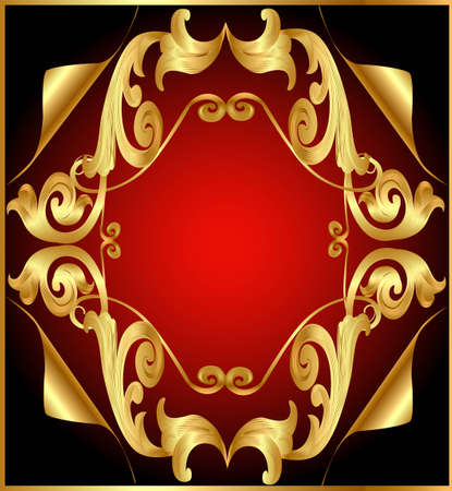 background to illustrations with gold(en)(en) by vegetable pattern and retinue by small part of corner Vector