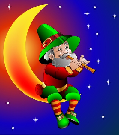warlock:  illustration magician plays on flute sitting on moon in the night