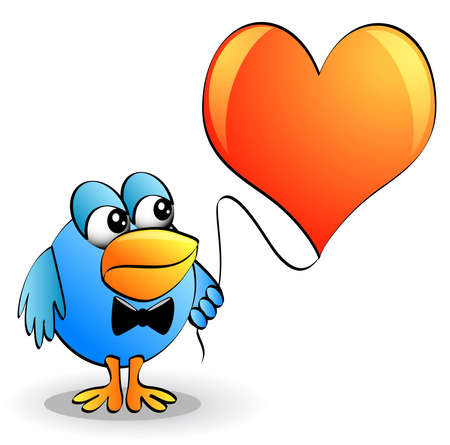 keeps: illustration amusing bird in tie keeps heart on thread Illustration