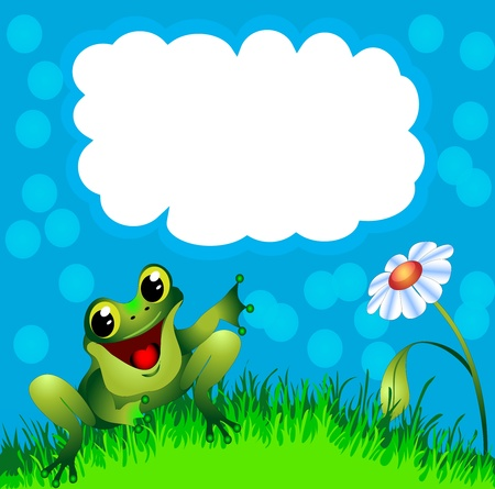 illustration frog sits in herb and flower and points to message Vector