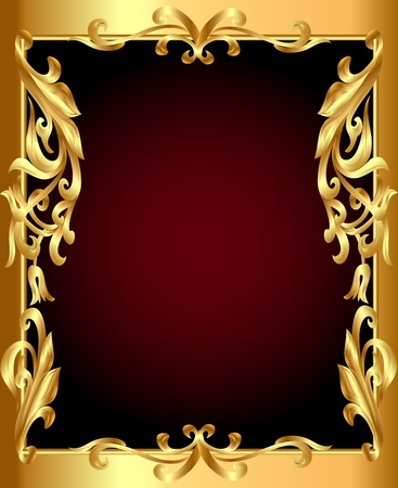 illustration gold(en) frame with gold(en) vegetable ornament Vector