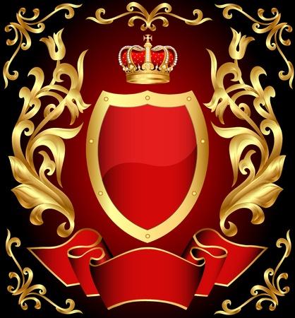 wings icon: illustrazione pistola scudo con corona e oro (en) ornamento e nastro Vettoriali