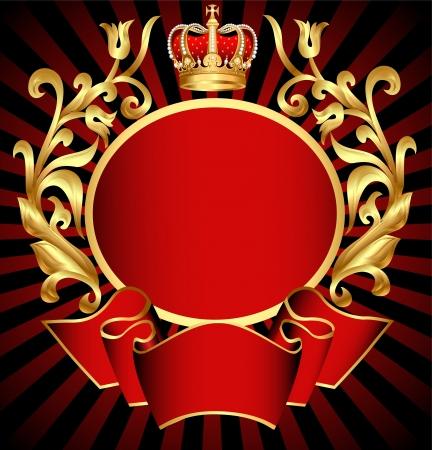 koninklijke kroon: illustratie adellijke achtergrond met goud (en) patroon en de kroon