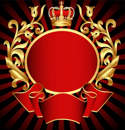 illustration de fond noble d'or (fr) modèle et la couronne