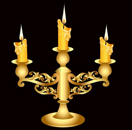 candle holder: illustration candlestick gold(en) with three burning candle