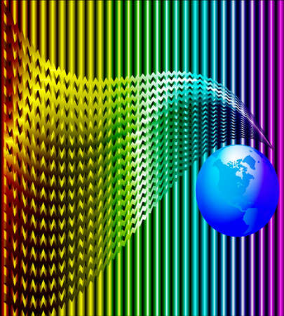 illustration background with wave and blue globe