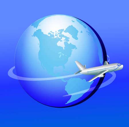 flight mode: illustration plane flies around globe in journey Illustration