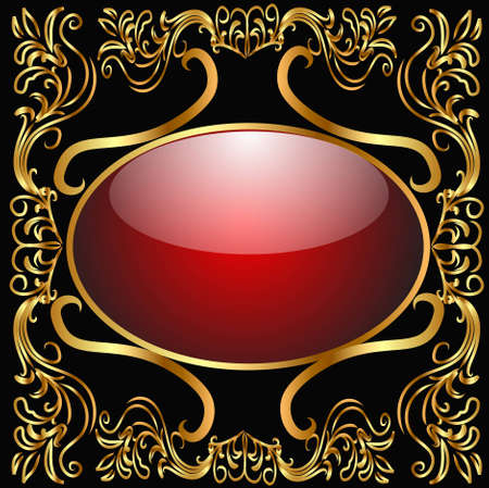 illustration background with glass frame and gold(en) pattern Vector
