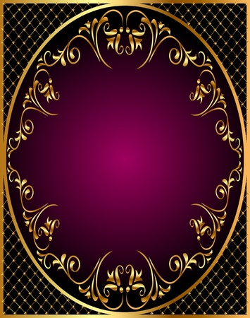 illustration gold(en) frame with gold(en) vegetable ornament and net Vector