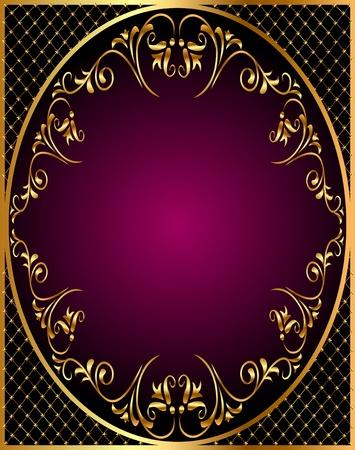 corner design: illustration gold(en) frame with gold(en) vegetable ornament and net