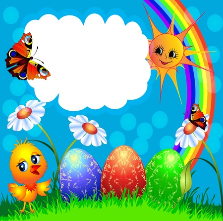 scenics: illustration easter background with egg and amusing chicken and rainbow