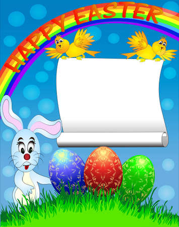 illustration easter background with egg and amusing rabbit and rainbow Vector