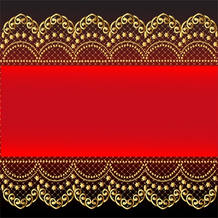 illustration red background with gold(en) pattern and net Vector