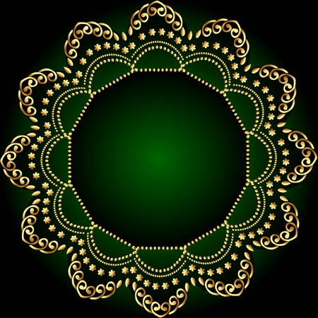 illustration green frame background with gold(en) pattern Vector