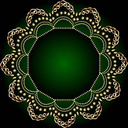 illustration green frame background with gold(en) pattern Vector