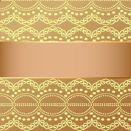 illustration beige background with gold(en) pattern and band for message Vector